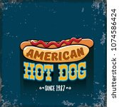 vector cartoon american hotdog... | Shutterstock .eps vector #1074586424