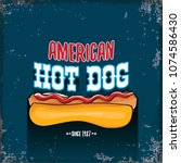vector cartoon american hotdog... | Shutterstock .eps vector #1074586430