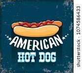 vector cartoon american hotdog... | Shutterstock .eps vector #1074586433