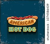 vector cartoon american hotdog... | Shutterstock .eps vector #1074586439
