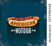 vector cartoon american hotdog... | Shutterstock .eps vector #1074586448
