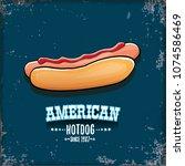 vector cartoon american hotdog... | Shutterstock .eps vector #1074586469
