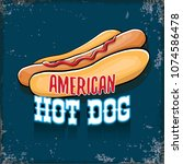 vector cartoon american hotdog... | Shutterstock .eps vector #1074586478