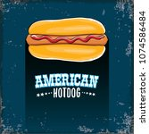 vector cartoon american hotdog... | Shutterstock .eps vector #1074586484