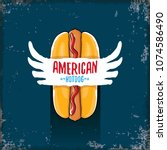 vector cartoon american hotdog... | Shutterstock .eps vector #1074586490