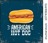 vector cartoon american hotdog... | Shutterstock .eps vector #1074586493