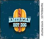 vector cartoon american hotdog... | Shutterstock .eps vector #1074586496