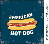 vector cartoon american hotdog... | Shutterstock .eps vector #1074586514