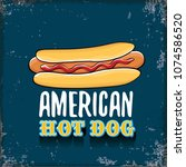 vector cartoon american hotdog... | Shutterstock .eps vector #1074586520