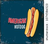 vector cartoon american hotdog... | Shutterstock .eps vector #1074586523