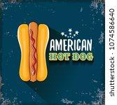 vector cartoon american hotdog... | Shutterstock .eps vector #1074586640