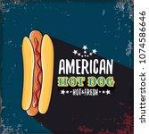 vector cartoon american hotdog... | Shutterstock .eps vector #1074586646