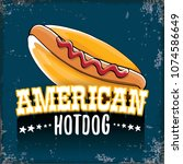 vector cartoon american hotdog... | Shutterstock .eps vector #1074586649
