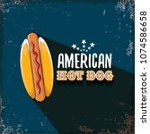 vector cartoon american hotdog... | Shutterstock .eps vector #1074586658