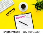 review resumes of applicants.... | Shutterstock . vector #1074590630