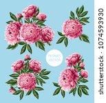 bouquet with pink peonies...   Shutterstock .eps vector #1074593930