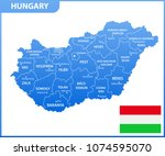 the detailed map of hungary... | Shutterstock .eps vector #1074595070