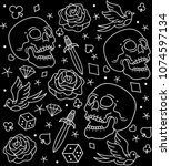 vector pattern tattoos old...   Shutterstock .eps vector #1074597134
