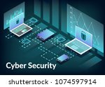 cyber security technology... | Shutterstock .eps vector #1074597914