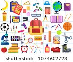 back to school big set. first... | Shutterstock .eps vector #1074602723