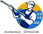 illustration of a worker with... | Shutterstock .eps vector #107461148