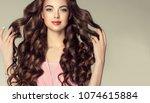 brunette  girl with long  ...   Shutterstock . vector #1074615884