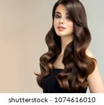 brunette  girl with long  ... | Shutterstock . vector #1074616010