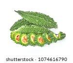 bitter melon  bitter gourd on... | Shutterstock . vector #1074616790