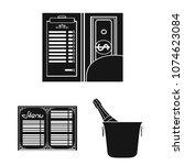 restaurant and bar black icons... | Shutterstock .eps vector #1074623084