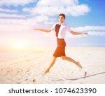 fashion shot on the coast....   Shutterstock . vector #1074623390