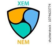 nem cryptocurrency blockchain... | Shutterstock .eps vector #1074623774