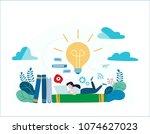 knowledge online. illustration...   Shutterstock .eps vector #1074627023
