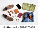 men's casual outfits with... | Shutterstock . vector #1074628610