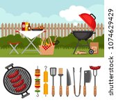 bbq party background with grill.... | Shutterstock .eps vector #1074629429