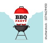 bbq party background with grill ... | Shutterstock .eps vector #1074629450