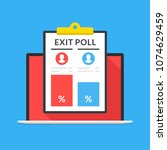 exit poll results on laptop... | Shutterstock .eps vector #1074629459