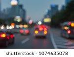 blur image of traffic jam... | Shutterstock . vector #1074635078