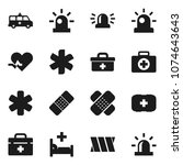 flat vector icon set   first... | Shutterstock .eps vector #1074643643