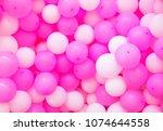 air balloons background. pink... | Shutterstock . vector #1074644558