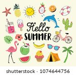 summer hand drawn icons and... | Shutterstock .eps vector #1074644756
