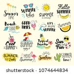 summer labels  logos  hand... | Shutterstock .eps vector #1074644834