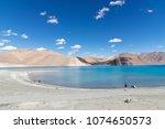 mountains and pangong tso  lake ... | Shutterstock . vector #1074650573