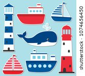 vector nautical set with... | Shutterstock .eps vector #1074656450