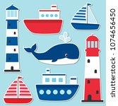 vector nautical set with... | Shutterstock .eps vector #1074656450