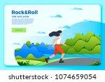 vector bright summer skating... | Shutterstock .eps vector #1074659054