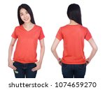 woman in red t shirt isolated... | Shutterstock . vector #1074659270