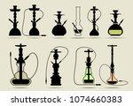 set of hookah labels  badges... | Shutterstock .eps vector #1074660383