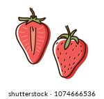strawberry outline illustration ... | Shutterstock .eps vector #1074666536