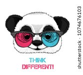 portrait of the panda in the... | Shutterstock .eps vector #1074676103
