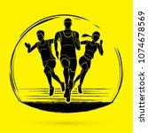 start running  marathon runner... | Shutterstock .eps vector #1074678569